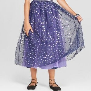 Tulle Maxi Skirt with Star Foil Print